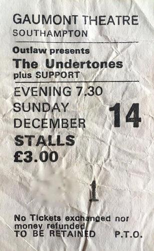 Damian O'Neill Undertones gig ticket